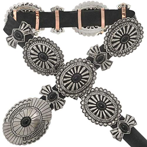 Navajo Onyx Silver Concho Belt Classic Santa Fe Full Size 0429