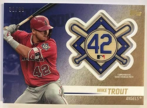 (2018 Topps Update and Highlights Baseball Series Jackie Robinson Day Manufactured Medallion Patch Gold #JRP-MT Mike Trou Official MLB Trading Card)
