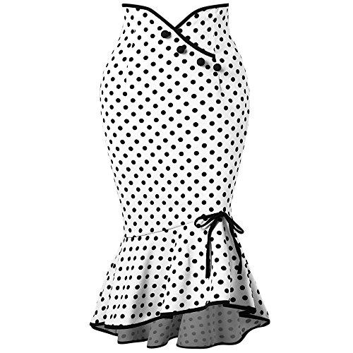 Skirt Dot Polka (CharMma Women's Classic High Waisted Skinny Polka Dot Ruffle Mermaid Skirt (White, 2XL))