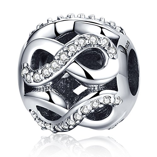 (PHOCKSIN Infinity Endless Love 925 Sterling Silver Bead Charms Birthstone for Bracelet Mother's Day)