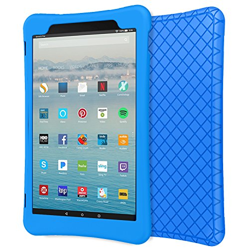 MoKo Case for All-New Amazon Fire HD 10 Tablet (7th Generation, 2017 Release) - [Honey Comb Series] Light Weight Shockproof Soft Silicone Back Cover [Kids Friendly] for Fire HD 10.1