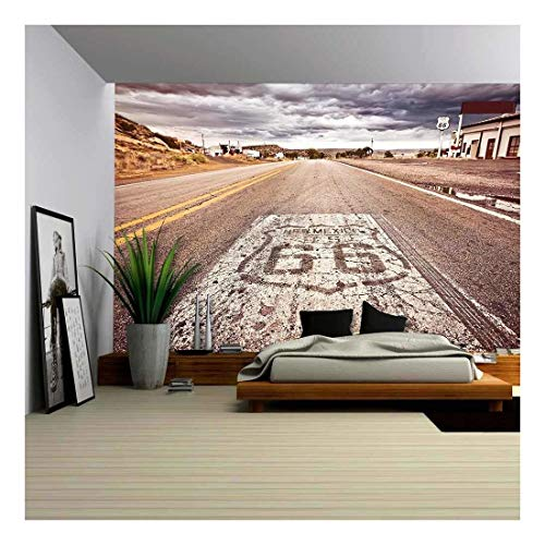 wall26 - Old Route 66 Shield Painted on Road - Canvas Art Wall Decor - 100