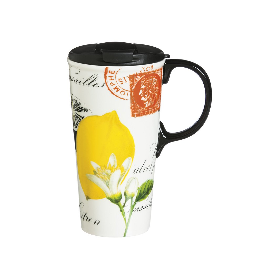 Cypress Home Luscious Lemon Ceramic Travel Coffee Mug 17 ounces