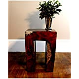 The Kings Bay Burl Teak Wood Root and Clear Resin Lucite Plastic End Side Night Table rt2