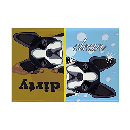 CafePress Dirty/Clean Boston Terrier Dog Rectangle Magnet, 2