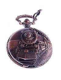 Carrie Hughes Steampunk Pocket Watch Quartz Railroad Embossed Arabic Numerals Full Hunter CHPW27