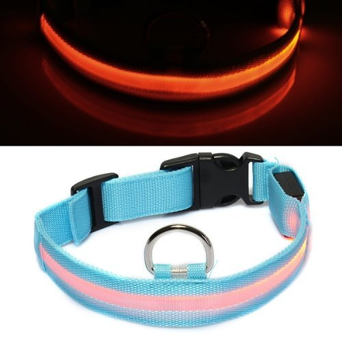 SODIAL(R) Collar Nylon ABS Ajustable con LED Luz Naranja para Perro Gato Talla S