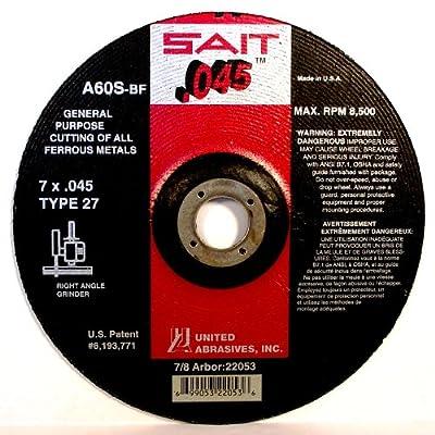 United Abrasives SAIT Type 27 A60S General Purpose Depressed Center Grinding Wheels, 50-Pack
