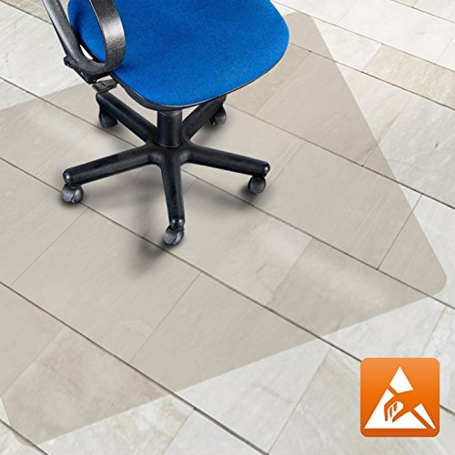 """Office Marshal Anti-Static Hard Floor Office Chair Mat - 100% Polycarbonate - 36"""" x 48"""" - Clear & High Strength - Performa Series - Multiple Sizes -  4058171285340"""