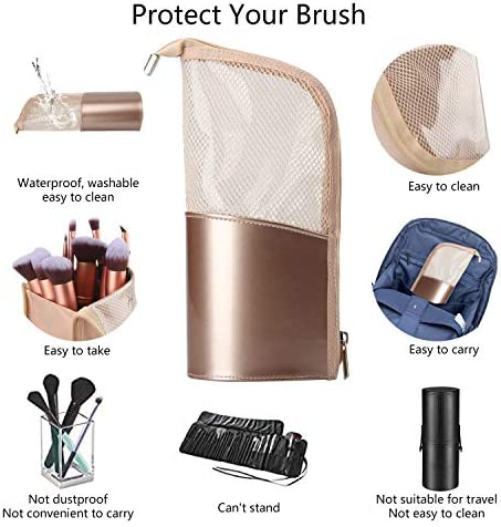 Travel Makeup Brush Bag, Portable Rose Gold Makeup Brush Holder Organizer Bag Waterproof Stand-Up Makeup Brush Pouch,Professional Artist Makeup Brush Case