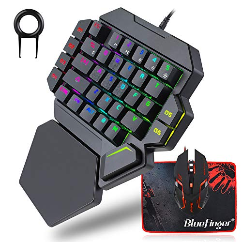 RGB One Hand Mechanical Gaming Keyboard and Backlit Mouse Combo,BlueFinger USB Wired Rainbow Letters Glow Single Hand Mechanical Keyboard with Wrist Rest Support, Gaming Keyboard Set for Game
