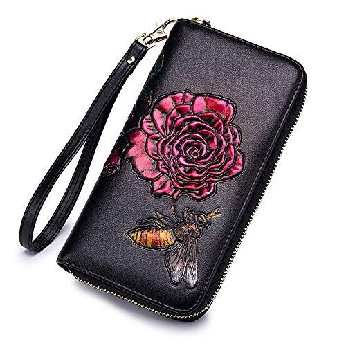 Ladies Wallet RFID Card Holder Women Clutch Wallet 3D Flower Long Purse (Red)