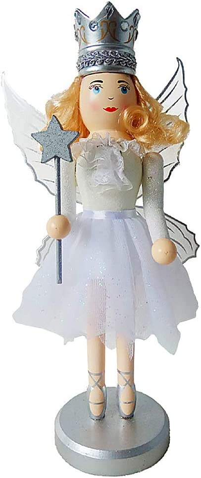 Argento Schiaccianoci Fata di Legno Statuetta Nutcracker Decorazione Regalo Natale per Bambini 35 cm di Altezza Pupazzo Burattino Dipinto a Mano