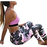 FDelinK Yoga Pants for Women, Camo Sports Fitness Leggings Elastic Ankle Tights High Waist Pants