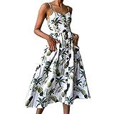 GOTD Women Flower Sexy Strap Spaghetti Buttons Off Shoulder Princess Dress Sleeveless Sundress Beach Summer (S, White)