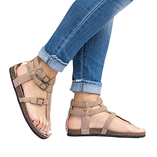 Syktkmx Womens Gladiator Flat Sandals Thong Black Ankle Wrap Buckle Strappy Summer Cork Sole Beach Shoes (Ankle Strappy Wrap)