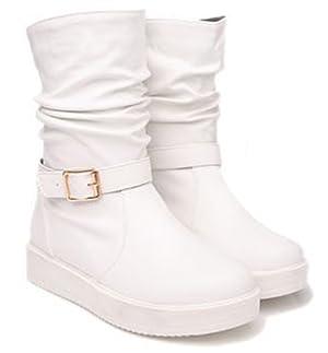 Sfnld Women's Spring Fall Short Slip On Ankle Martin Boots White 7.5 B(M) US