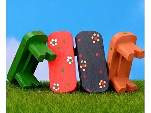 FERFERFERWON Micro Miniatura Carino panchina Micro Paesaggio casa delle Bambole pianta Fai da Te casa Giardino Arredamento Ornamento (Rosso) Decorazione del Paesaggio