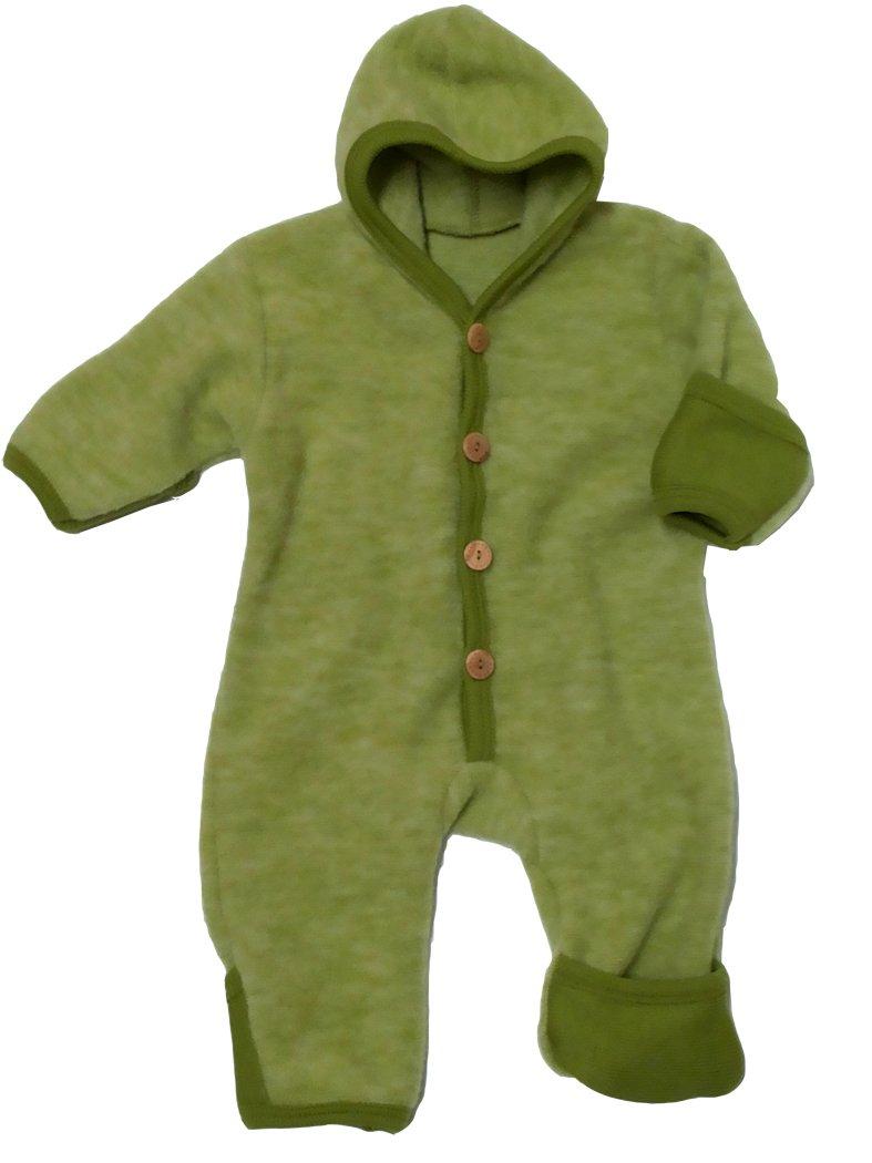 Overall mit Umschlagbündchen und Kapuze aus warmem Woll-Fleece (100% Merinowolle kbT), COSILANA, grün, Größe 86/92