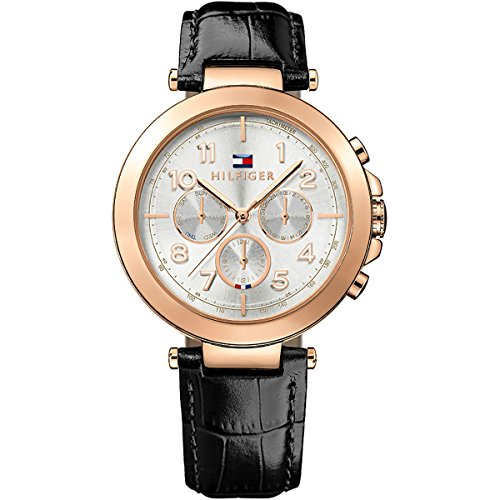 Tommy Hilfiger Multifunction Rose Gold and Black Leather Women's watch #1781449