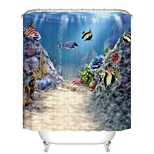 Fangkun Ocean Decor Collection Shower Curtain - Tropical Undersea with Colorful Fishes Swimming in The Ocean Coral Reefs Art Image - Polyester Bath Curtains - 12PCS Hooks (72 x 72 inches, YL138#)