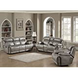 Crystal Collection Upholstered Mid-Century 3-Piece Living Room Set with Tufted Sofa, Loveseat, and Arm Chair and 4 Accent Pillows, Gray