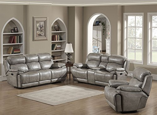 3 Piece Sofa Collection (Crystal Collection Upholstered Mid-Century 3-Piece Living Room Set with Tufted Sofa, Loveseat, and Arm Chair and 4 Accent Pillows, Gray)