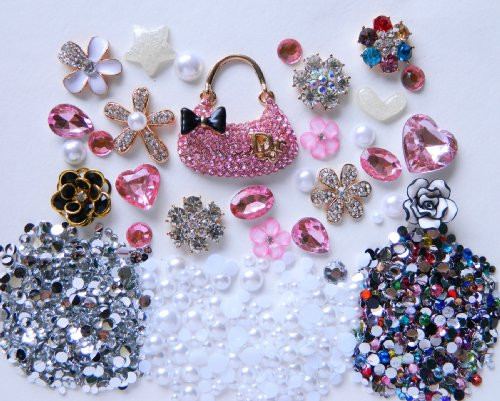 Diy Bling Phone (LOVEKITTY -- Z370 - DIY 3D Pink Rhinestones Purse Bling Bling Cell Phone Case Resin Flatback Kawaii Cabochons Deco Kit /)