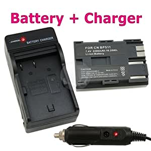 Canon BP-511 Compatible Li-Ion Battery + Battery Charger for Canon PowerShot G-Series G1 / G2 / G3 / G5 / G6