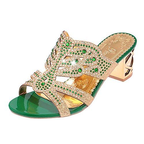 Respctful ♪☆ Winter Women's Fashion Rhinestone Slippers Open Toe Shoes Chunky Heel Ankle Slippers