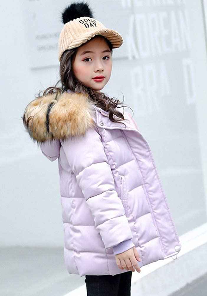 Leeharu Girls Cotton Quilted Jacket Winter Thick Cotton Down Mid Long Jacket Kids