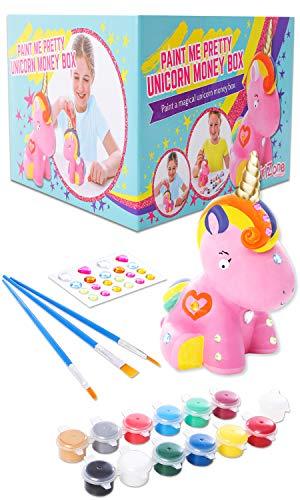 GirlZone Regalos para Ninas - Hucha Unicornio para Pintar - Kit Pintura para Ninas y Accesorios Infantiles -Pinceles, Colores y Gemas 3 a 12 anos Cumpleanos y Fiestas