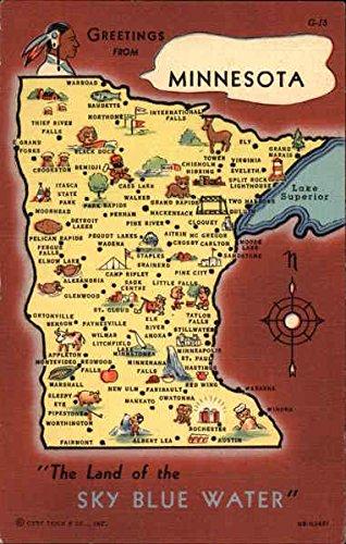 Map of Minnesota Maps Original Vintage Postcard