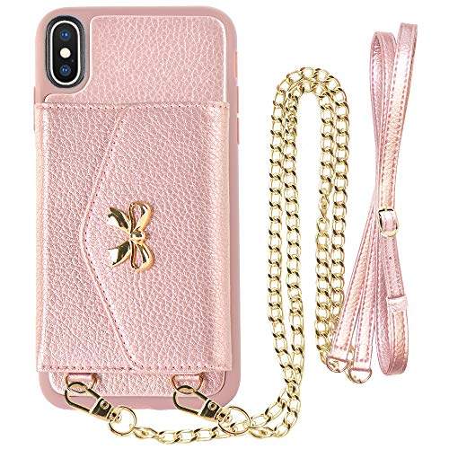LAMEEKU Wallet Case for iPhone Xs Max, 6.5-Inch, Protective Leather Cases with Card Holder Slot Pocket, Shockproof Cover with Crossbody Chain Wrist Strap for Apple iPhone Xs Max 6.5(2018) Rose Gold