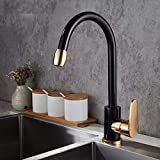 FZHLR Black&Gold Kitchen Faucet Space Aluminum Single Handle Hot And Cold Mixer Water Vessel Sink Basin Tap Mixer Torneira Cozinha