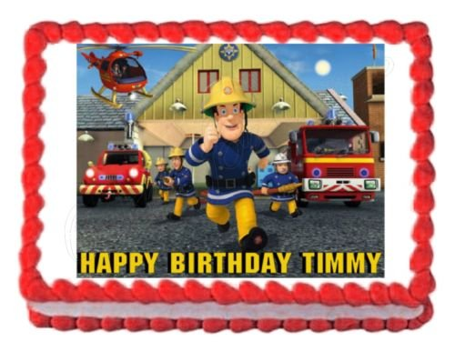 FIREMAN SAM party decoration edible cake image cake topper frosting sheet birthday