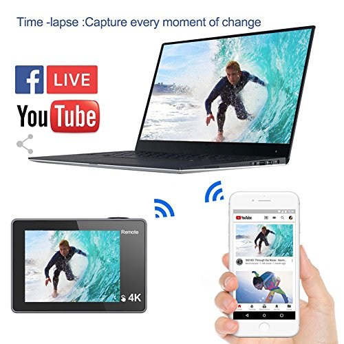 Digital Video Action Camera Live Streaming Touch Screen Underwater Cameras 4K 30fps HD WiFi Sports Cam 170 Wide Angle Remote Control Waterproof Camcorder 100ft with 2 Rechargeable 1350mAh Batteries by GeeKam (Image #1)