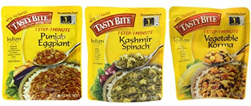 Tasty Bite Heat & Eat Indian Cuisine Side Dish 3 Flavor Variety Bundle: (1) Tasty Bite Punjab Eggplant, (1) Tasty Bite Kashmir Spinach, and (1) Tasty Bite Vegetable Korma, 10 Oz. Ea. (3 Pouches Total) (Bite Tasty Spinach)