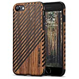 TENDLIN iPhone 8 Case/iPhone 7 Case with Wood Grain Outside Soft TPU Silicone Hybrid Slim Case for iPhone 7 and iPhone 8 (Wood & Leather)