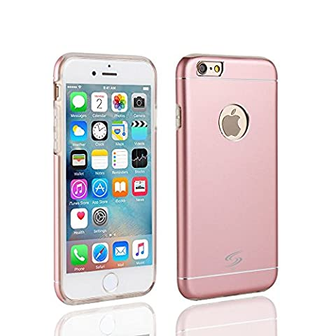 StyleTech Inc. iPhone 6 / 6s Strong Aluminum Back Cover with Durable Slim TPU Layer Case sleeve Dual Protection Stylish Slim Frame (Rose (Supernatural Battery)