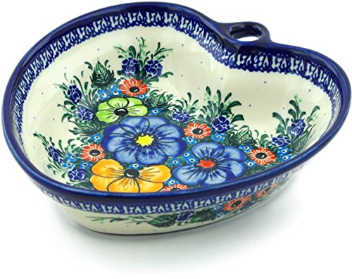 - Polish Pottery 7¾-inch Heart Shaped Bowl (Summertime Blues Theme) Signature UNIKAT + Certificate of Authenticity