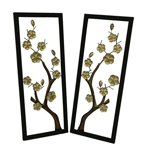 - Zeckos Metal Wall Sculptures Gold Cherry Blossom Branches 2 Piece Metal Flower Art Wall Decor Set 14 X 36 X 1.25 Inches Gold