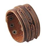 Jenia Handmade Wide Genuine Mens Leather Bracelet Bangle Cuff Brown