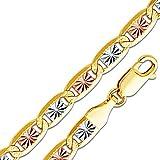 14k Tri 3 Color Gold Solid 4.5mm Valentino Star Diamond-Cut Chain Necklace