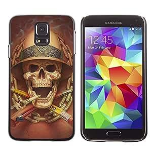 TikTakTok Hard Protective Back Case Skin Cover for Samsung Galaxy S5 SM-G900 - Death Explorer Smoking Safari Skull