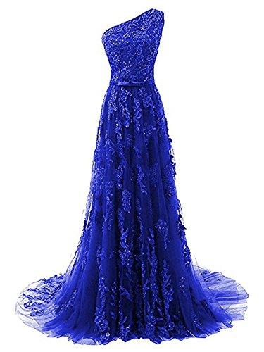 Hombro de Fiesta Largo Encaje Noche Un de de Vestido Azul línea Real Vestido JAEDEN A Vestido Novia wF5B4Oxnq