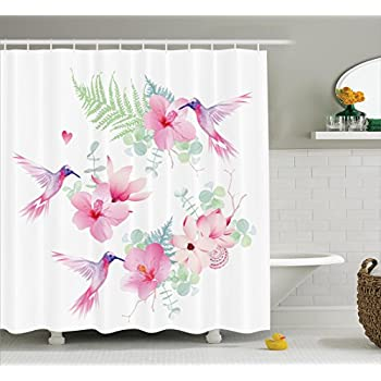 Exceptionnel Ambesonne Floral Shower Curtain Set Hummingbirds Decor, Tropical Flowers  With Flying Hummingbirds Wild Nature Branches
