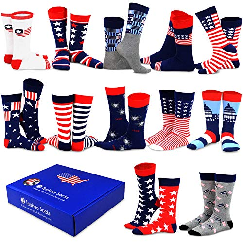 TeeHee Special (Holiday) 12-Pairs Socks with Gift Box (10-13, Americana-A) - Novelty American Flag