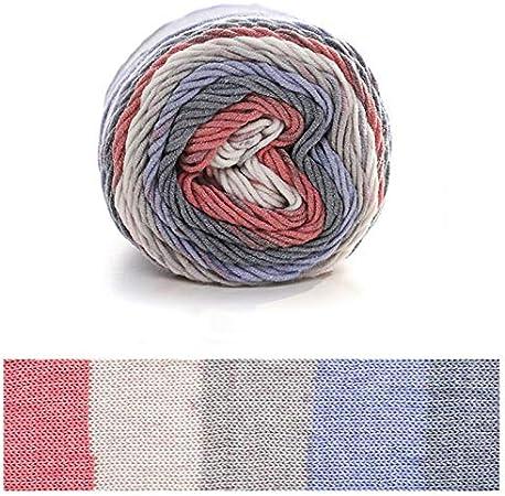 Xiuinserty - Hilo de algodón para tejer (100 g, 5 hebras, ovillo de lana de algodón tejida a mano para manta) e: Amazon.es: Hogar