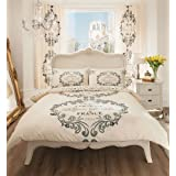 CREAM & CHARCOAL SCRIPT PRINTED DUVET COVER SETS (double) by HOMEMAKER BEDDING